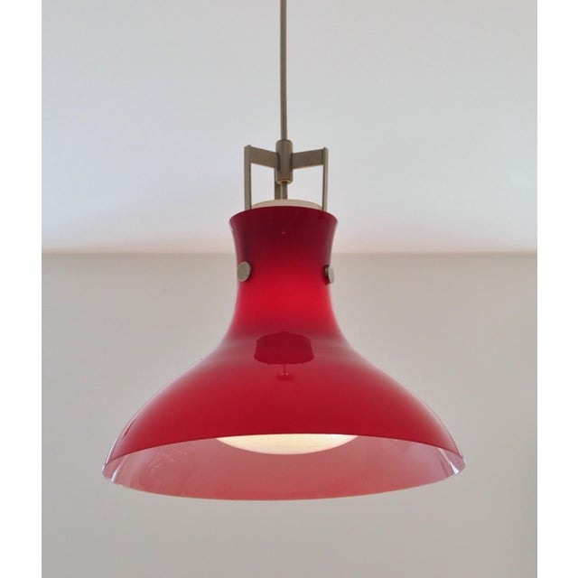 Red and white cased glass with heavy white internal diffuser married to richly aged nickel-ed brass hardware. Newly wired,...