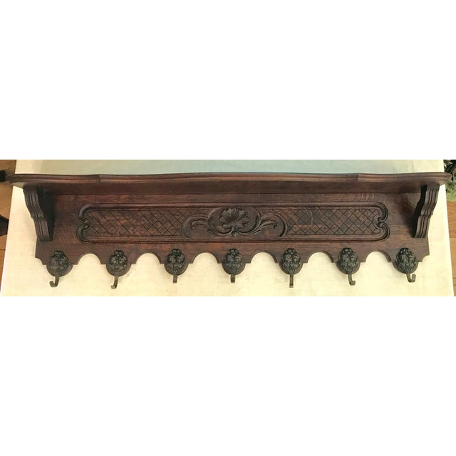 Antique French Carved Tiger Oak Wall Shelf Coat Hat Rack For Sale - Image 11 of 11