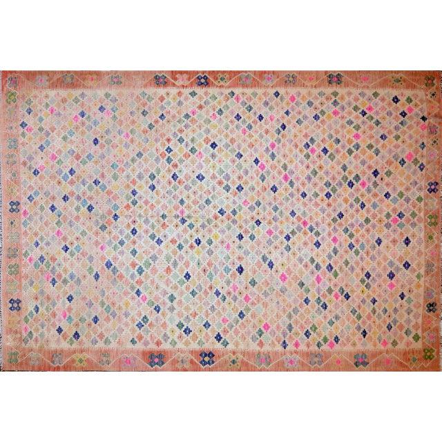 Vintage Geometric Maimana Wool Kilim Rug - 6'9″x10'1″ For Sale - Image 9 of 9