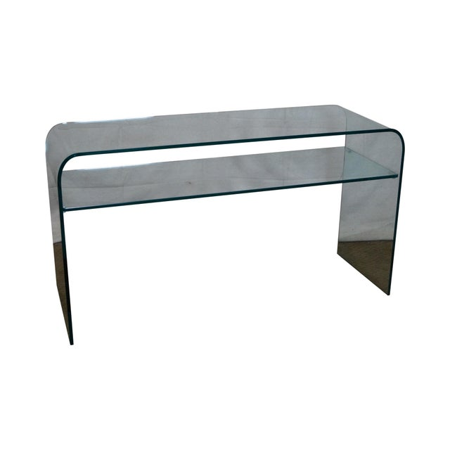 Mid-Century Modern Curved Glass Console Table For Sale
