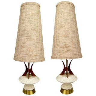 Pair of Teak and Chalkware Lamps by Plasto For Sale