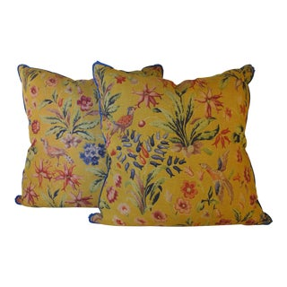 English Printed Linen Pillows - A Pair For Sale