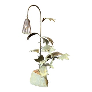 Mid-Century Brass Tree With Bird Sculpture on Marble Base For Sale
