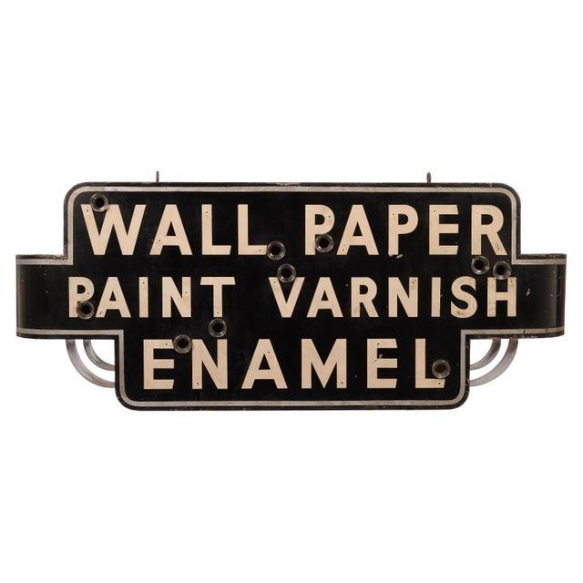 "Art Deco ""Wallpaper, Paint, Varnish, Enamel"" Neon Sign For Sale - Image 10 of 10"