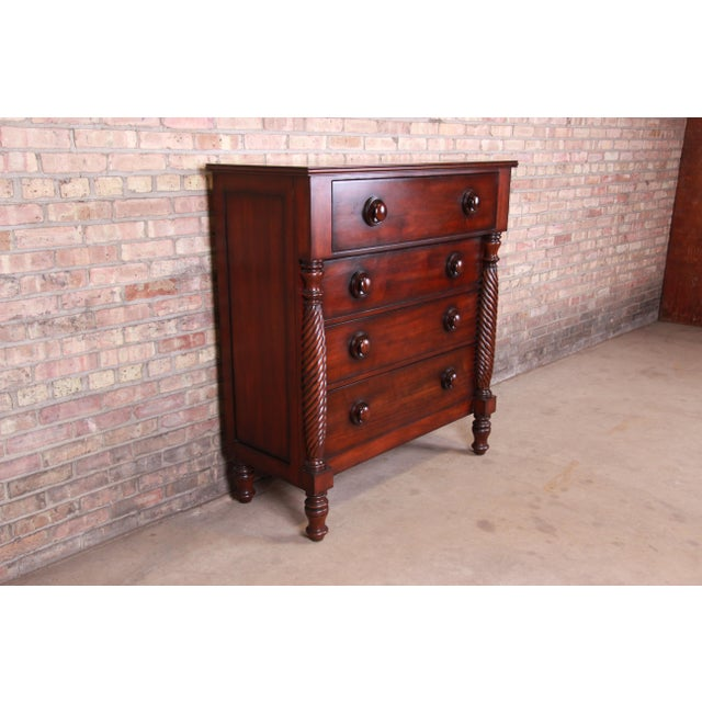 American Ralph Lauren for Henredon American Empire Carved Mahogany Highboy Dresser For Sale - Image 3 of 13