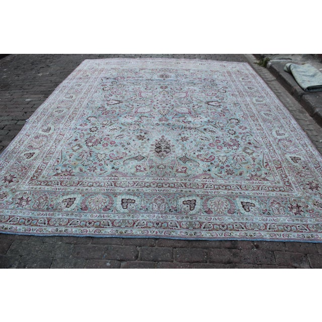 Vintage Mashad Wool Rug - 9′1″ × 12′ For Sale - Image 4 of 8