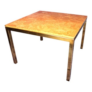 Milo Baughman Style Burled Wood & Brass Square Dining Table For Sale