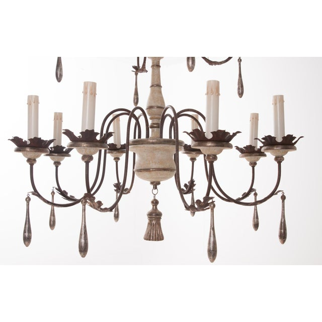 Paint Italian Reproduction Painted 12 Light Chandelier For Sale - Image 7 of 11