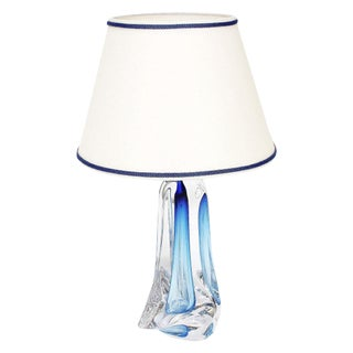 Val St Lambert Light Blue Table Lamp For Sale