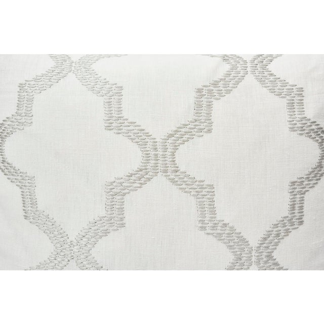 Modern meets Moroccan in this stunning geometric Schumacher pattern. Tangier Embroidery is a fretwork motif embroidered in...