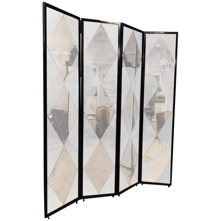 Four Panel Double Sided Floor Screen or Room Divider Distressed