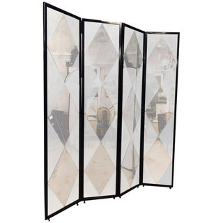 Four Panel Double Sided Floor Screen or Room Divider Distressed Diamond Mirror For Sale