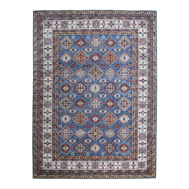 Hand Knotted Blue Kazak Wool Rug For Sale