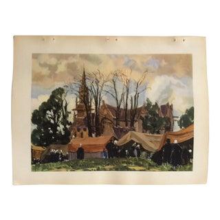 """Vintage French Color Print, """"The Village"""" Paris by Aquarelle De Yan - 1936 For Sale"""