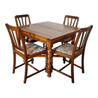 Antique 19th C. English Oak Pub Table With Chairs Dining Set For Sale