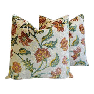 "French Floral Linen & Velvet Feather/Down Pillows 26"" Square - Pair For Sale"