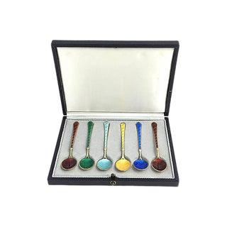 Vintage Enamel Gilt Silver Demitasse Spoons - Set of 6 For Sale