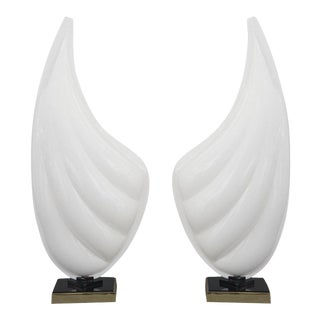 Pair of Rougier Resin Shell Lamps