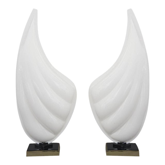 Signed Pair of Mid Century Modern Rougier Lucite / Resin and Brass Sea Shell Lamps - Image 1 of 6