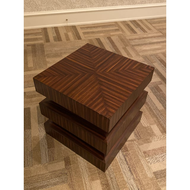 Contemporary Zebra Wood Side Or End Table Chairish