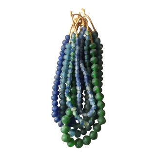 African Blue & Green Recycled Glass Beads - Set of 7 For Sale