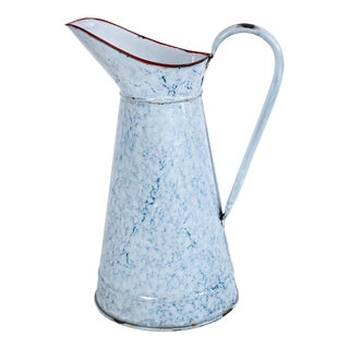 Vintage French Blue and White Enamelware Pitcher, Circa 1920's For Sale