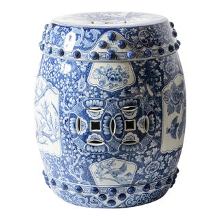 Old Chinese Terra Cotta Blue & White Barrel Garden Stool/ Drinks Table For Sale