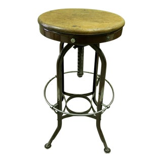 Early 20th Century Vintage Industrial Toledo Uhl Steel Machinist Stool For Sale