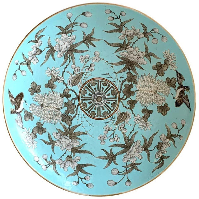 19th Century Chinese Export Powder Blue Ho Ho Bird Motif Charger For Sale - Image 12 of 12