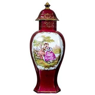 20th Century Grand Vase Depicting a Genre Scene/ Limoges Porcelain For Sale