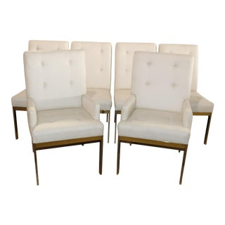 Set of Six 6 Brass Plated Milo Baughman Style Mid-Century Modern Dining Chairs For Sale