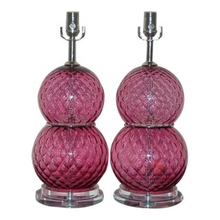 Vintage Cranberry Murano Glass Lamps by Swank Lighting For Sale