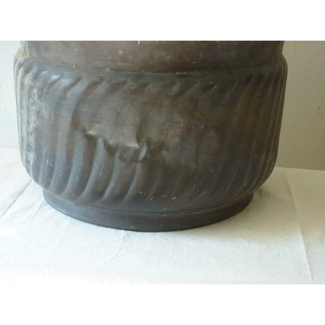 Patinated Copper Cache Pot For Sale - Image 4 of 5