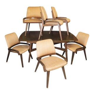 Mid Century Modern Dining Set With 6 Chairs For Sale