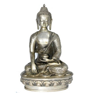 Large Silver Bronze Buddha Sculpture For Sale