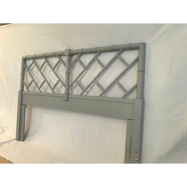 Wood Henry Link Bali Hai Chinese Chippendale Queen Fretwork Headboard For Sale - Image 7 of 9