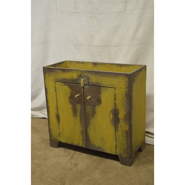 Primitive Primitive Distressed Painted Country Small Dry Sink Cabinet For Sale - Image 3 of 11