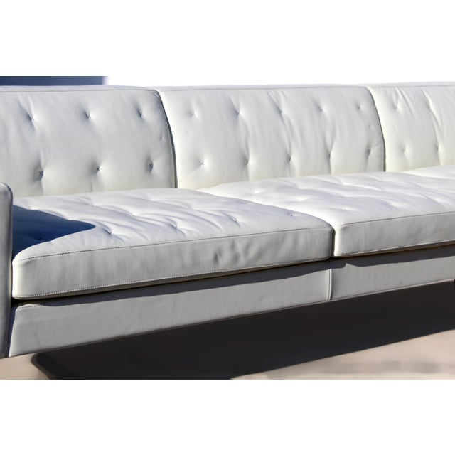 Poltrona Frau Over-Scale Poltona Frau 'Italy' Leather and Stainless Steel Sofa For Sale - Image 4 of 9