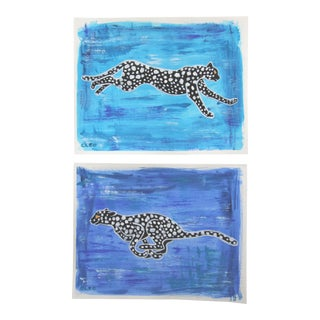 Chinoiserie Leopard Cheetah Leaping Paintings by Cleo Plowden - a Pair For Sale