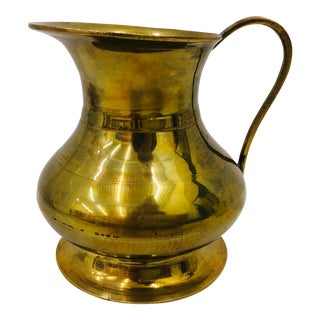 Vintage Gold Brass Pitcher For Sale