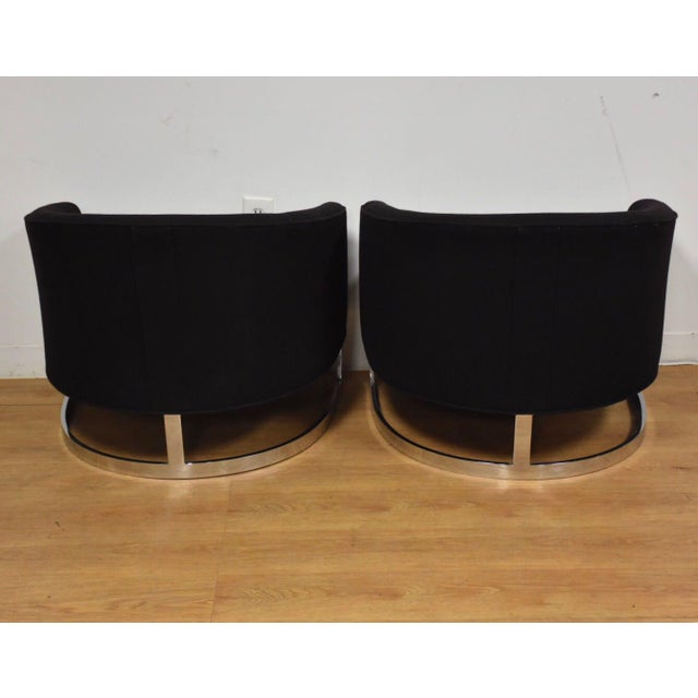 Chrome Black & Chrome Barrel Back Lounge Chairs- a Pair For Sale - Image 7 of 11