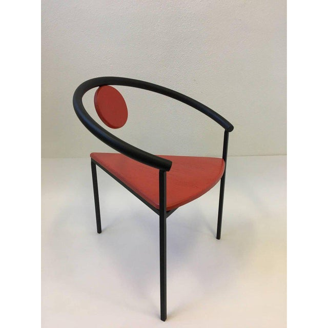 Set of Four Tripod Memphis Dining Chairs in the Manner of Michele de Lucchi For Sale - Image 10 of 11