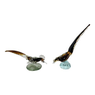 1950s Vintage Murano Male & Female Glass Bird Figurines - A Pair For Sale