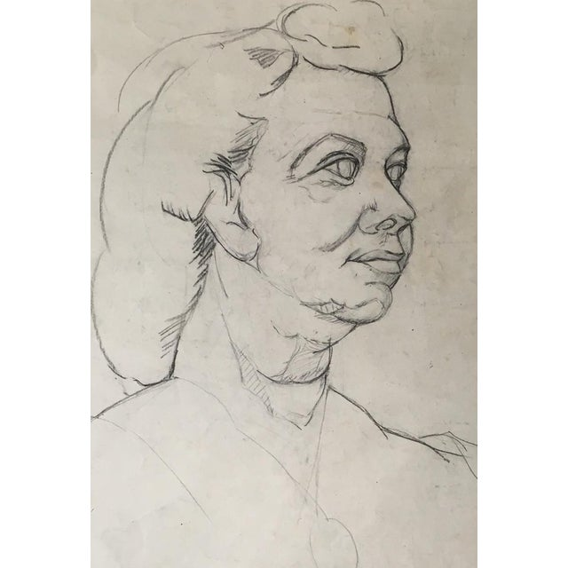 Mid-Century Charcoal & Pencil Woman Sketch - Image 3 of 3