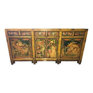 1900s Asian Antique Mongolian Hand Lacquer Painted Wildcat Cabinet For Sale
