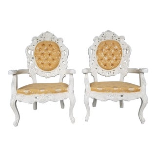 Hollywood Regency Ivory Gold Brocade Chairs - Vintage Victorian Ivory Pair of Chairs - French Provincial Style White Throne Chairs