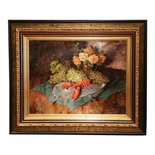 Carl Fischer (Artist) Important 20th Century Still Life Oil Painting With Lobster Signed Circa 1920 For Sale