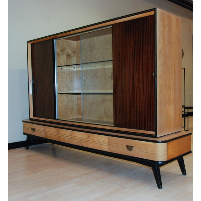 Brass Circa 1950 Large German Exotic Wood and Glass Bar/Display Cabinet, Germany For Sale - Image 8 of 8