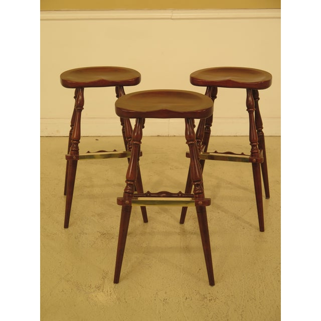 Frederick Duckloe Cherry Saddle Seat High Seat Bar Stools - Set of 3 For Sale - Image 11 of 11