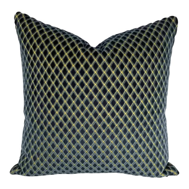 Navy Blue Diamond Cut Velvet Pillow Cover For Sale